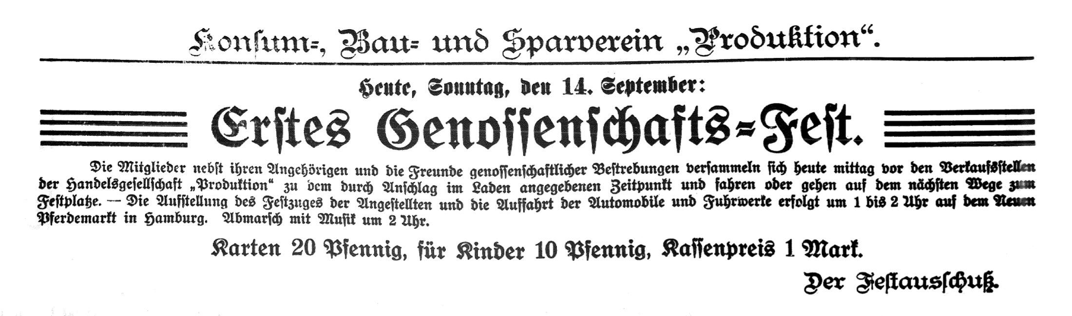 Anzeige Genossenschaftsfest 14.9.1913